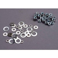 Traxxas 1252: Nut set, lock nuts (3mm (11) and 4mm(7)) & washer set