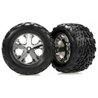 Traxxas 3669: Tires & wheels, assembled, glued (2.8'') (All-Star chrome wheels