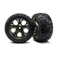 Traxxas 3777A: Black-Chrome All-Star Wheels/AnacondaTires(2)
