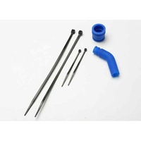 Traxxas 5245: Molded Tuned Pipe Coupler & Exhaust Deflector Blue