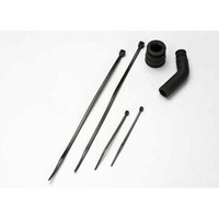 Traxxas 5245X: Molded Tuned Pipe Coupler & Exhaust Deflector Black