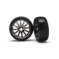 Traxxas 7573A: Tires Wheels Assembled Glued 12-Spoke Black (2)