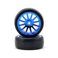 Traxxas 7573R: Tires Wheels Assembled Glued 12-Spoke Blue (2)