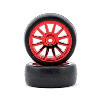 Traxxas 7573X: Tires Wheels Assembled Glued 12-Spoke Red (2)
