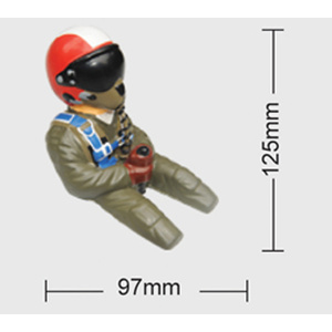Painted 1/6 Scale 3/4 Length Jet Pilot  W/ Red Helmet & Visor # 80040B