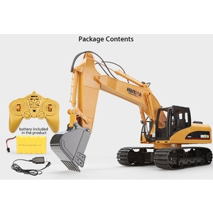 HuiNa Toys 1550 15 Channel 2.4G 1/14 RC Metal Excavator Construction  Charging RC Car