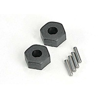 Traxxas 1654: Wheel hubs, hex (2)/ stub axle pins (2)