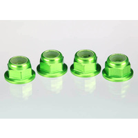 Traxxas 1747G: Nuts, aluminum, flanged, serrated (4mm) (green-anodized) (4)