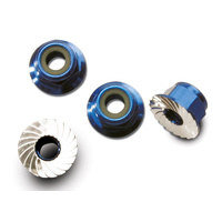 Traxxas 1747R: Nuts, aluminum, flanged, serrated (4mm) (blue-anodized) (4)