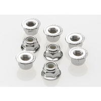 Traxxas 3647: Nuts, 4mm flanged nylon locking (steel, serrated) (8)