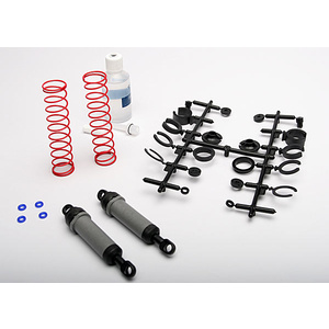 Traxxas 3762A: Ultra Shocks (grey) (xx-long) (complete w/ spring pre-load spacers & springs) (rear) (2)
