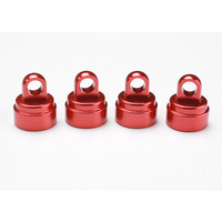 Traxxas 3767X: Shock caps, aluminum (red-anodized) (4) (fits all Ultra Shocks)