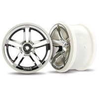 "Traxxas 3774: Wheels, Twin-Spoke 2.8"" (chrome) (2WD electric rear) (2)"