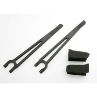 Traxxas 3927: Hold downs, battery, left & right (2)/ foam spacers (2)