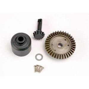 Traxxas 4981: Ring gear, 37-T/13-T pinion/diff carrier/6x10x0.5mm PTFE-coated washer (1)/2x8mm countersunk machine screws (4)