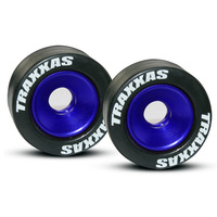 Traxxas 5186A: Wheels, aluminum (blue-anodized) (2)/ 5x8mm ball bearings (4)/ axles (2)/ rubber tires (2)