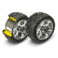 Traxxas 5577R: Mirror-Chrome All-Star Wheel/Anaconda Tires(2) Front