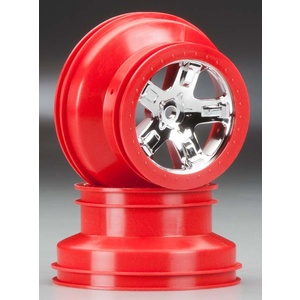 Traxxas 5868: SCT Front/Rear Wheel Red Chrome Beadlock (2)