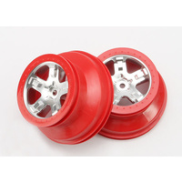 Traxxas 5872A: Wheels, SCT satin chrome, red beadlock style, dual profile