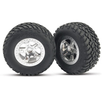 Traxxas 5873: Tires & wheels, assembled, glued (SCT satin chrome)