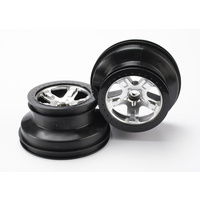 Traxxas 5874: Wheels, SCT satin chrome, beadlock style, dual profile