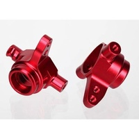 Traxxas 6837R: Steering blocks, 6061-T6 aluminum (red-anodized), left & right