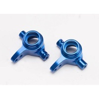 Traxxas 6837X: Steering blocks, 6061-T6 aluminum (blue-anodized), left & right