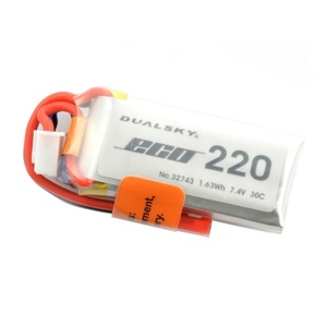 Dualsky 220mah Lipo 2S, 30C, JST Connector