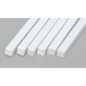 "Evergreen 186 Styrene Strips .125x.125"" (3.2 x 3.2mm) Qty 6"