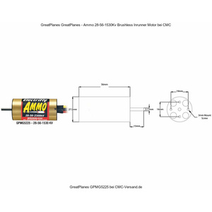Great Planes, Ammo 28-56-1530 In-Runner Brushless Motor #GPMG5225