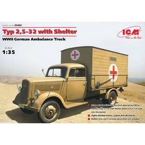 ICM 35402 German Ambulance Truck TYP 2, 5-32 W/Shelter, WWII 1/35 #35402